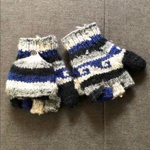 Wool and fleece convertible gloves